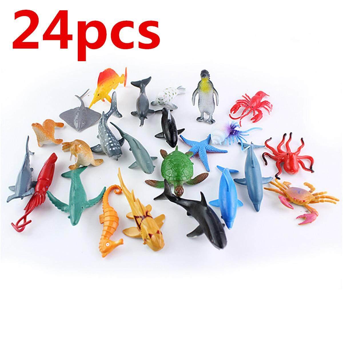 24pcs/set Plastic Ocean Animals Figure Sea Dolphin Turtle Creatures Model Toys By Moonbeam.
