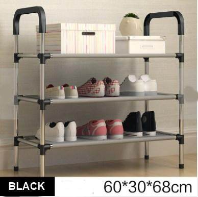 Stainless Steel 5 Tier Shoe Rack Organizer Storage Shelf - BLACK