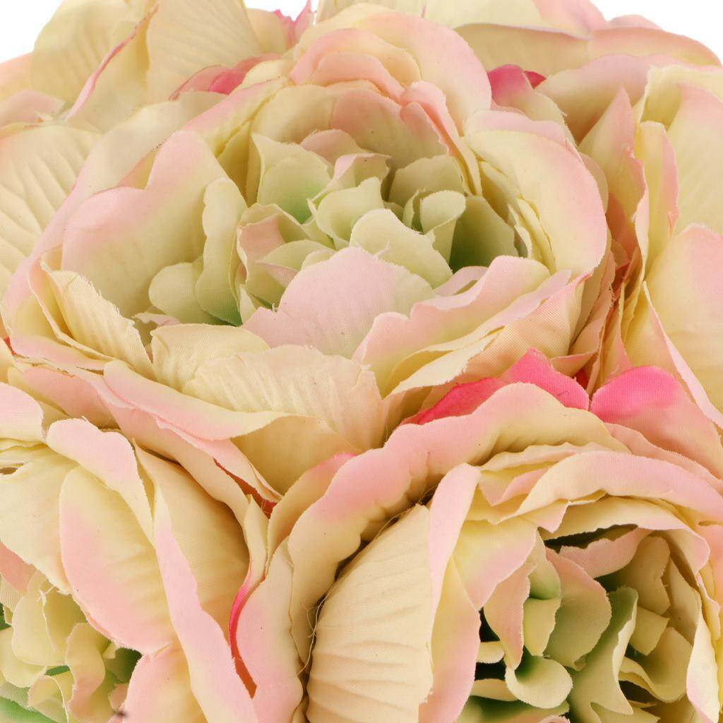 GuangquanStrade Artificial 6-Head Peony Bridal Bouquet Wedding Hand Holding Flower Dark pink