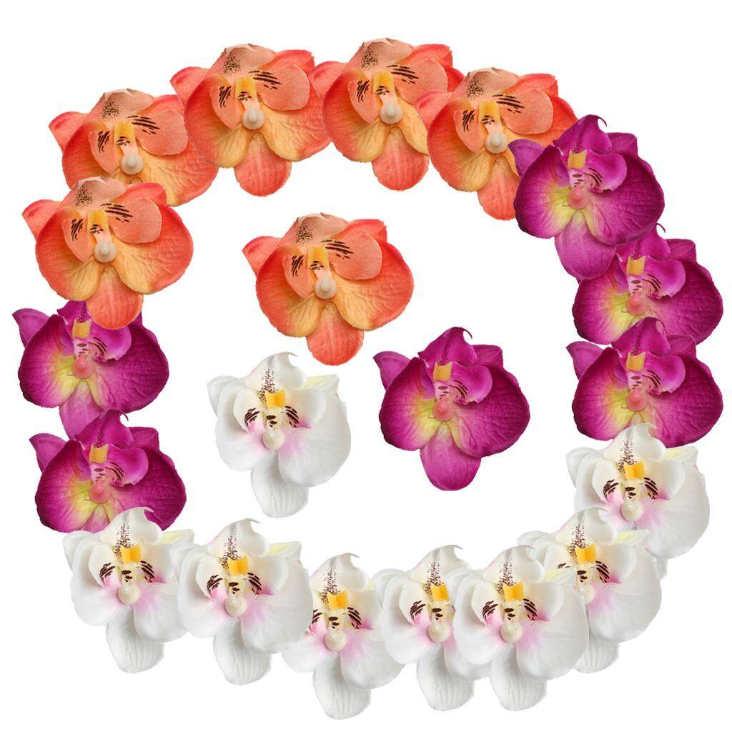 GuangquanStrade 20 Pieces Artificial Simulation Silk Orchid Flower Head 6 cm Multi-Color