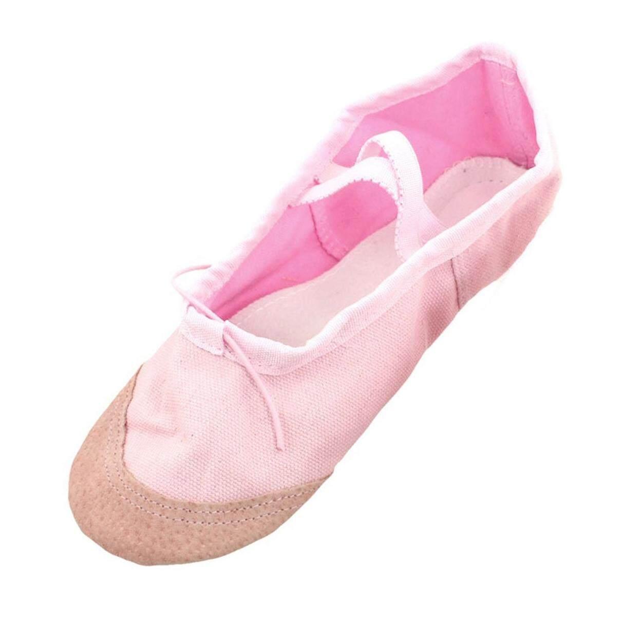 f3b30cf62b8b EU 37 Pink Faux Leather Split Sole Canvas Dancing Ballet Flats Shoes for  Women
