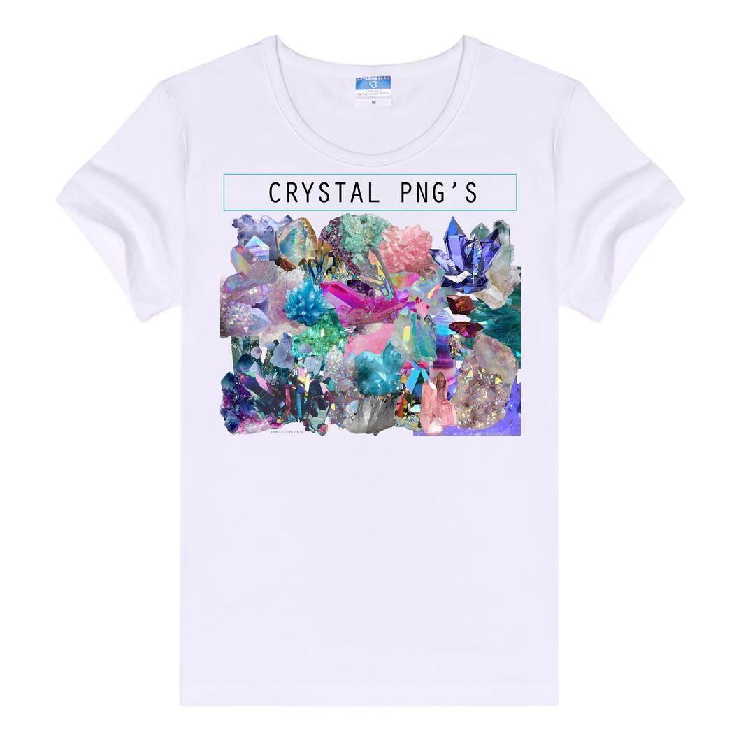 Toprank Wanita Pakaian Santai Bundar Polos Leher Lengan Pendek Kristal PNG Pola T-Shirt-Intl