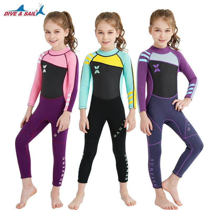 Neoprene Long Sleeve Wetsuit Kids Boy Girl Diving Suit Children Swimsuit Wet Suit Rashguard Swim Snorkeling