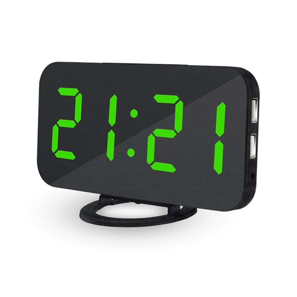 OrzBuy Alarm Clock, Digital Clock With Large 6.2 Easy-Read LED Display, Diming Mode, Easy Snooze Function, Mirror Surface, Dual USB Charger Ports - intl
