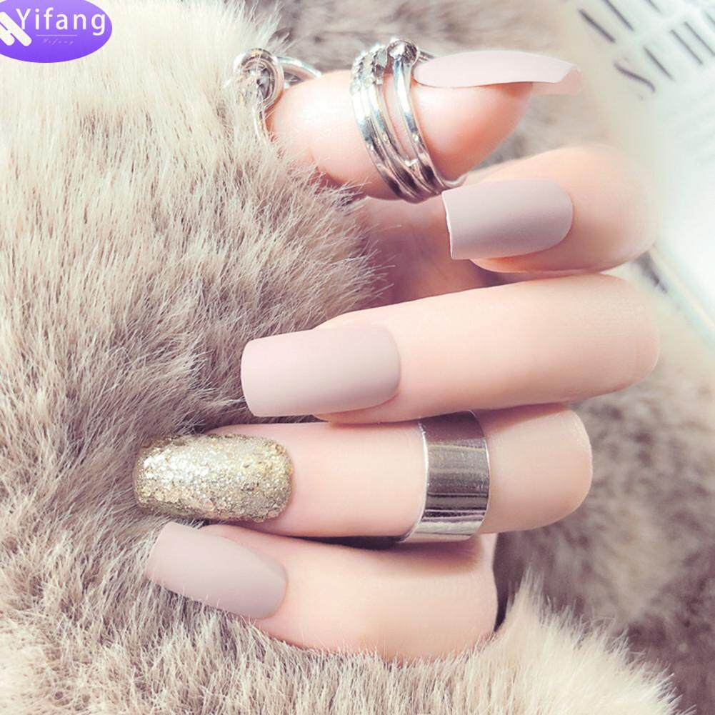 Yifang 24Pcs Matte Beauty Long nail tips salon full cover false french nail art tips fake acrylic nails art makeup manicure Philippines