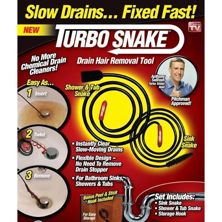 Turbo Snake Hair Slow Drainer Fixed Fast Easy Step As Seen On TV