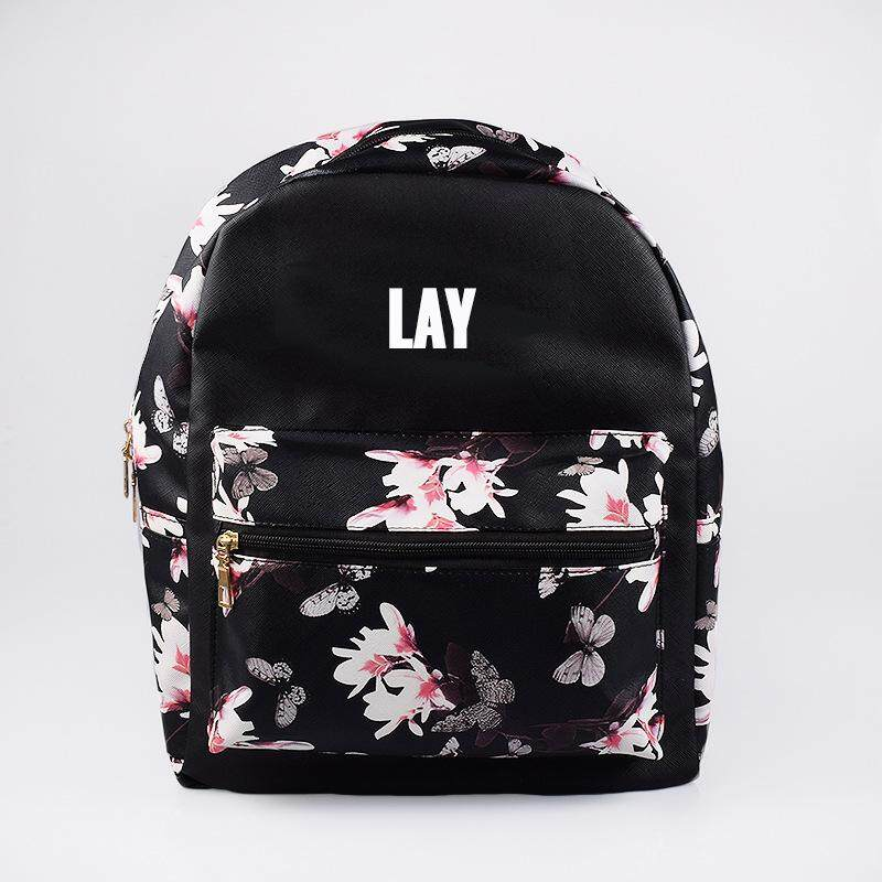 KPOP EXO BAEKHYUN CHANYEOL SEHUN Album PU Bag Floral Pattern Package Backpack Schoolbag New Fashion Shoulder