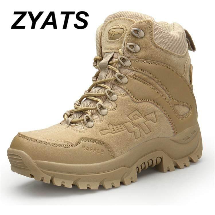 Zyats Pria Kualitas Tinggi Kulit Sepatu Keselamatan Kerja Tahan Air Sepatu Perkakas Lelaki Kerja & Kasut
