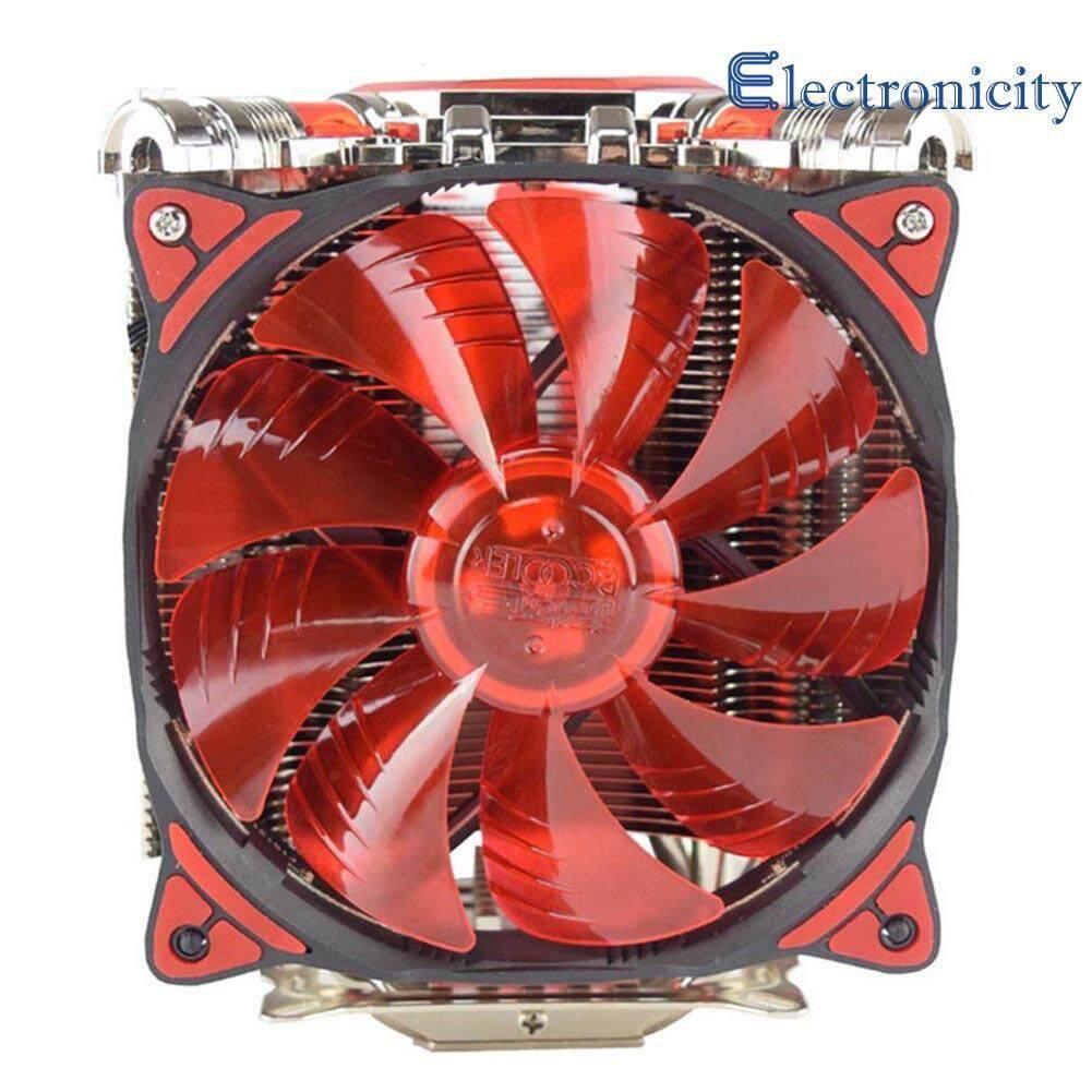 5xHeatpipes LED CPU Dual Cooler Fan Rifle Bearing Mute Heatsink Radiator