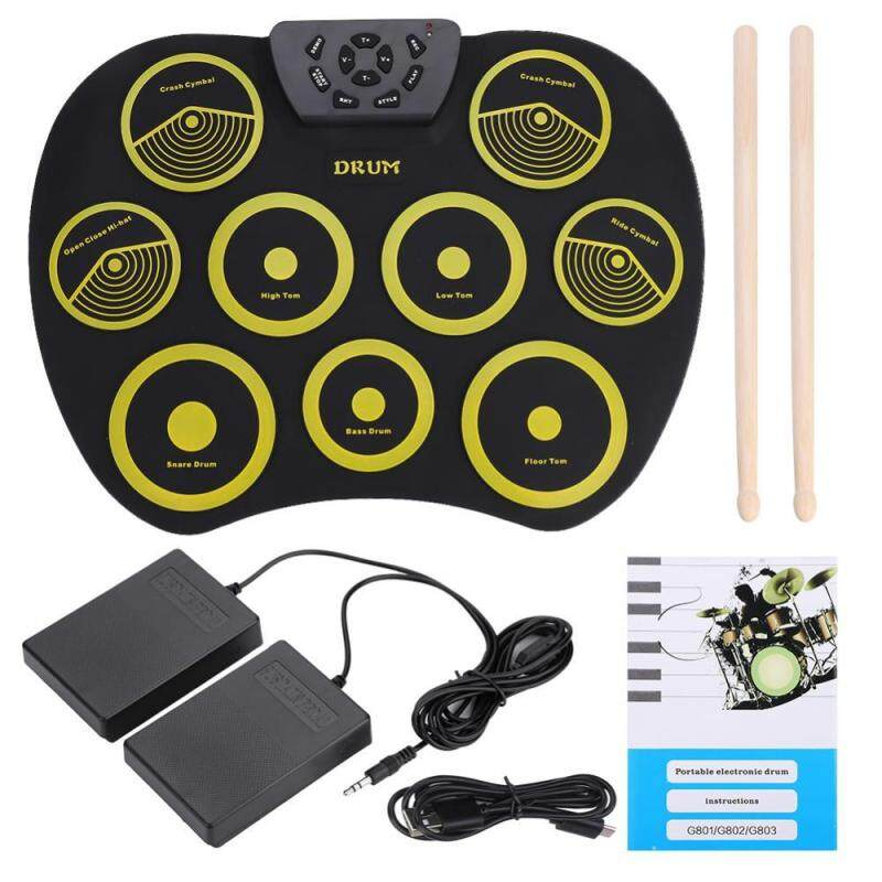 Shanyu Portable Rolling Up Silicone Electronic Drum Pad Kit with Pedals Sticks USB Cable