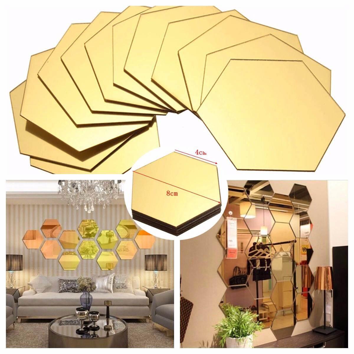 【Flash Deal】120pcs 3D Mirror Hexagon Vinyl Removable Wall Sticker Decal Home Decor Art DIY