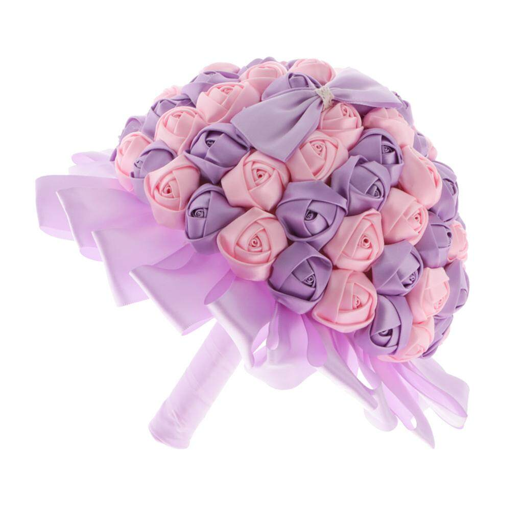 GuangquanStrade Rose Flower Bridal Bouquet Wedding Bride Holding Decor Pink and Light Purple