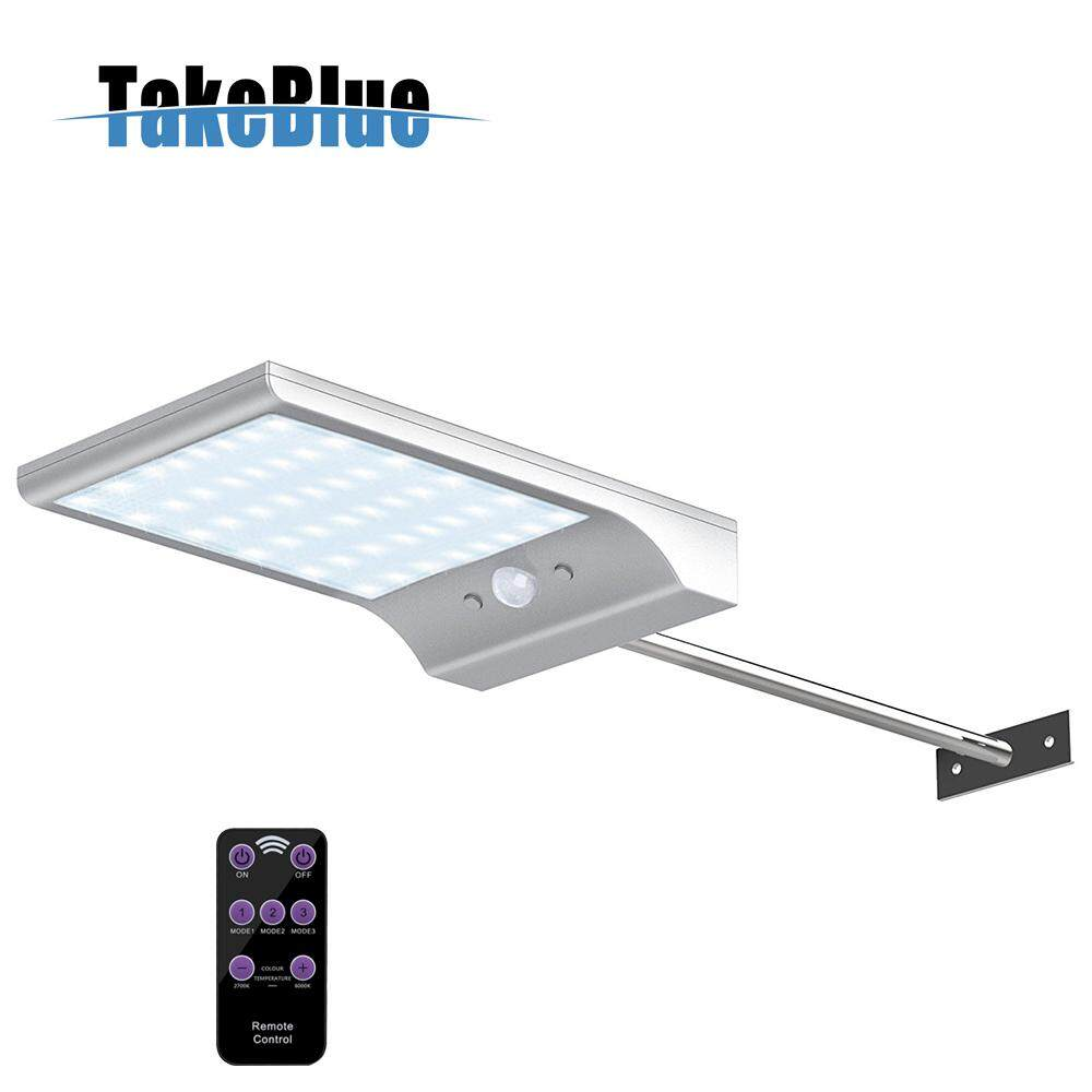 TakeBlue 48 LED Wireless Waterproof Solar Motion Sensor Lights Outdoor with Remote Control Dimmable Light With Extension Rod ( 1 / 2 Pack )