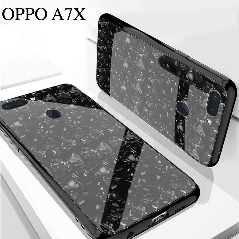 ... Apple iPhone X Black TPU Jelly Silicone Softcase Backcase Back . Source · For OPPO A7X Luxury Hard Tempered Glass Case Marble Shell Pattern Design Glass