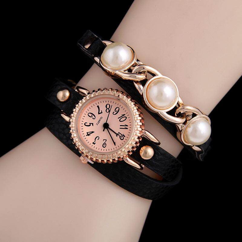 Pearl PU winding watch lychee pattern ladies bracelet watch three times winding quartz watch(black)