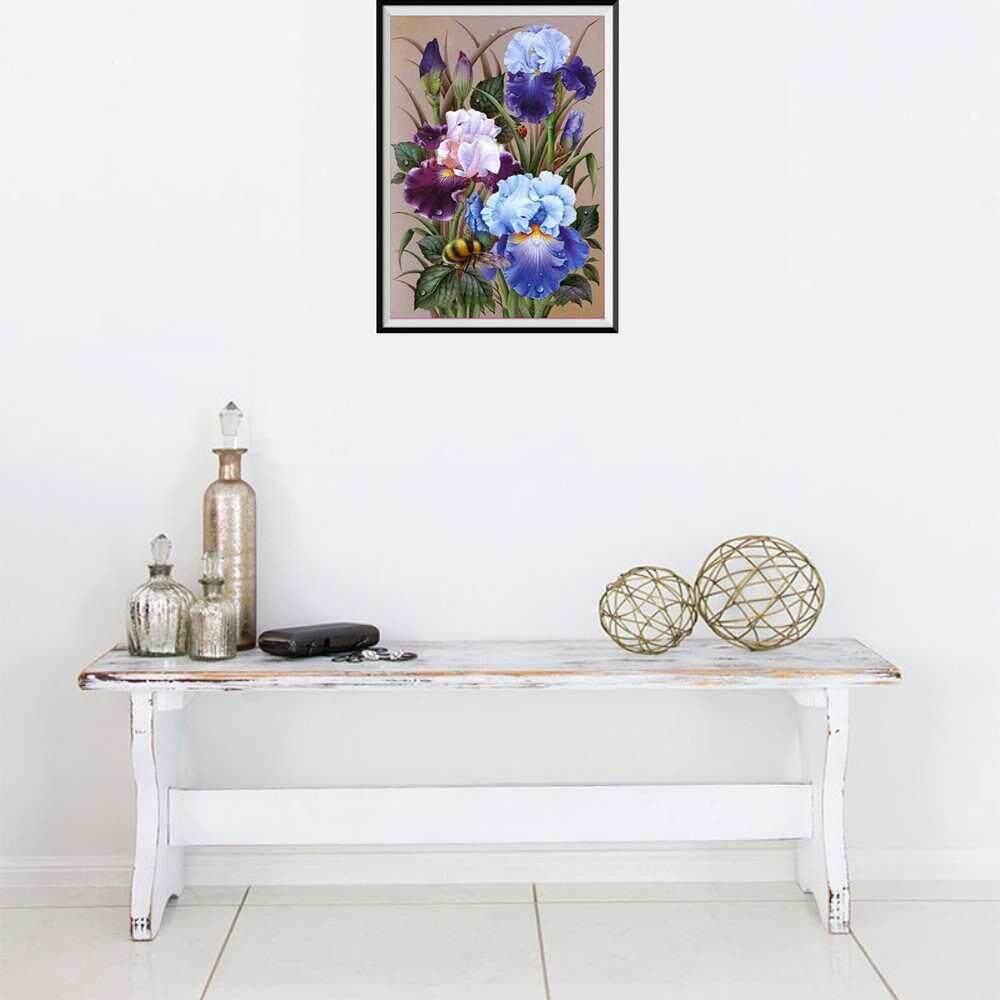 Vigo 40*30cm Flower Pattern Diy Diamond Embroidery Cartoon Hand Painted Girl Children Bedroom Wall Decor.