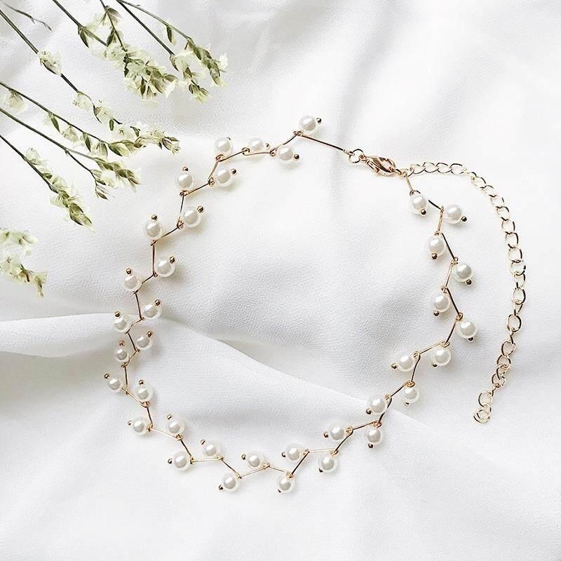 【Putih emas】Pendek sederhana mutiara rantai klavikula Korea leher kalung perempuan Jepang dan Korea kreatif hipster kalung perhiasan leher siswa