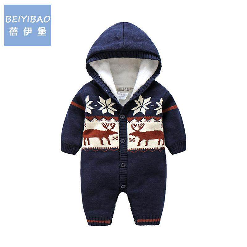 0322a58f5bcac Infant Thick Clothes Autumn And Winter Men And Women Baby Berber Fleece  Onesie Reindeer Romper Warm