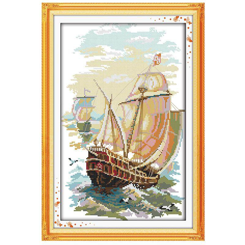 Diy Hand Embroidery Cross Stitch Suit Embroidery Set 11ct Printing Sailboat Cross Stitch 37 * 54cm Home Decoration - Intl By Sunnny2015.