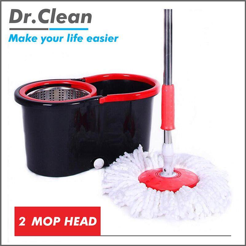 Easy Spin Mop with 2 Microfibre Mop Heads (Red / Black )