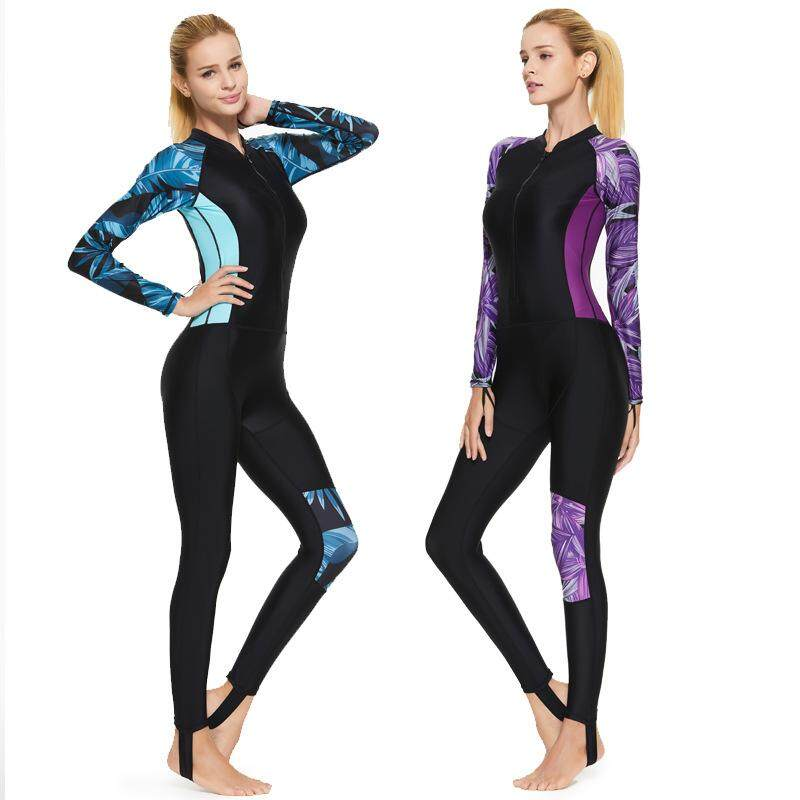 6ddab19f22 SBART Lycra Wetsuit Women One-piece Long Sleeve Rashguard Swim Suit for  Swimming Diving Surfing