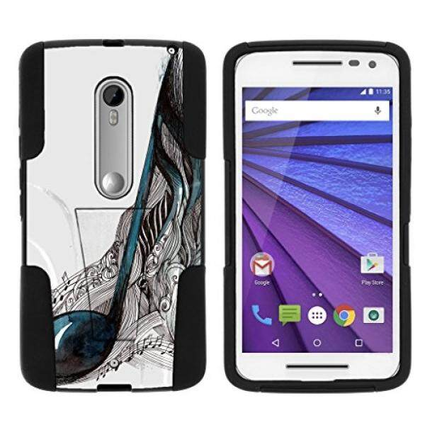 Smartphone Cases Cases TurtleArmor Motorola X Play Case Motorola Droid MAXX 2 Case [Gel Max Cover] High Impact Proof Kickstand Case Silicone Hard Cover Combo Music Design Collection - Artistic Music Notes - intl