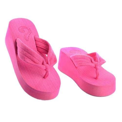 Women's beach sandals Wedges Plateau slippers Thong Flip Flops Home Rose CN 37=UNS 6.5
