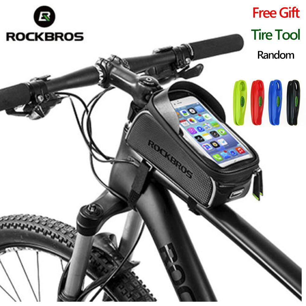 RockBros 6.0''TouchScreen MTB & Road Bike Waterproof Reflective Front Tube Cycling Bag Phone
