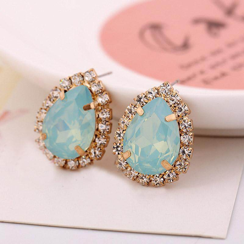 Drop Type Rhinestone Shine Super Socialite Style Temperament Nightclub Stud Earrings - intl