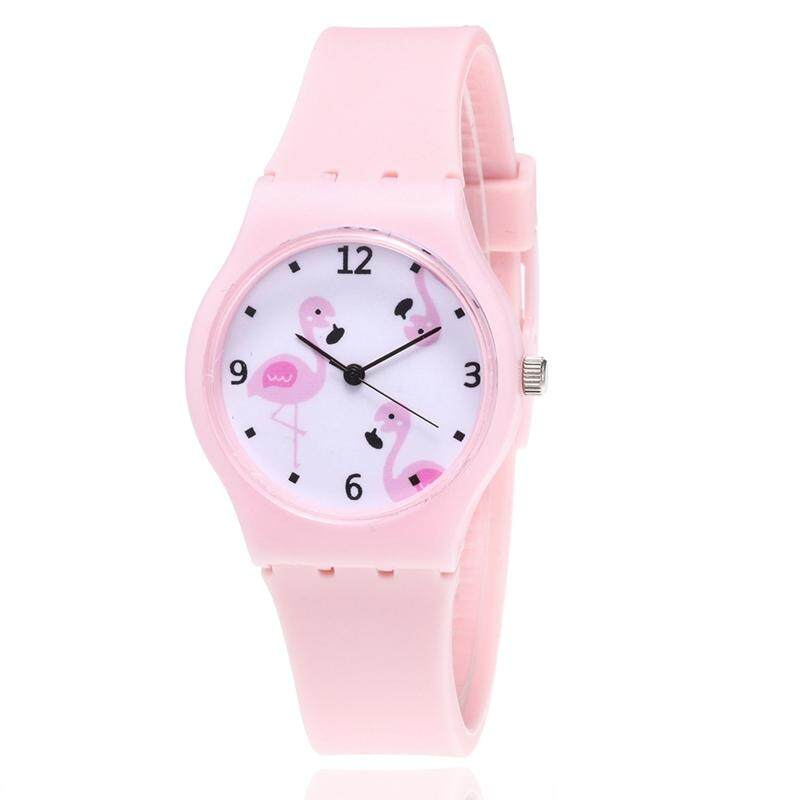 99ed032c5 SYS New Silicone Candy Color Student Watch Girls Fashion Flamingo Watches  Cartoon Kids Quartz Watch