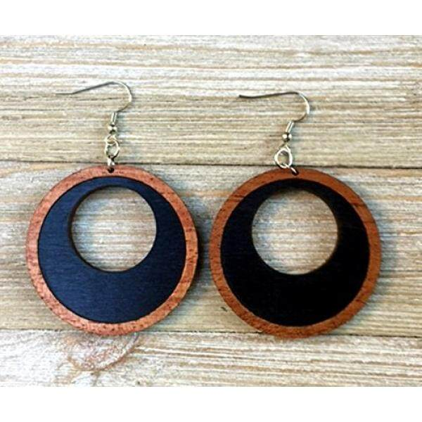 Black Wood Hoop Earrings From Natural Reclaimed Stained Maple Xmas