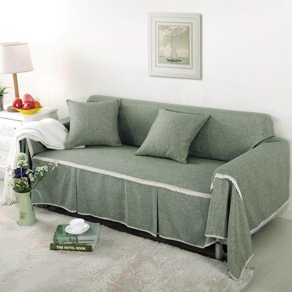 LB Solid Color Elastic Anti-slip Sofa Cover Home Decoration (without Pillow Case)