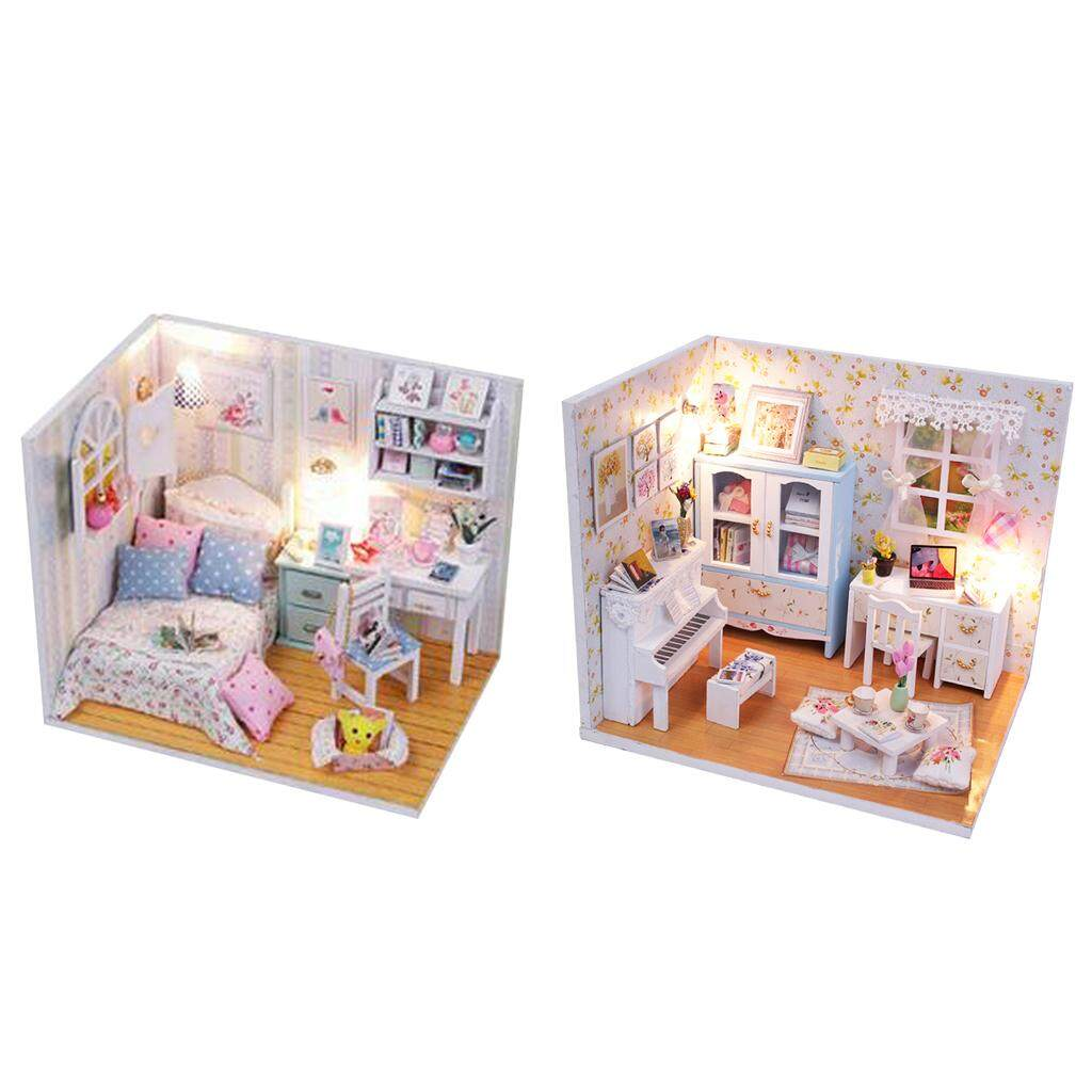 Magideal 2 Set Diy Wooden Miniature Doll House Kit With Lights & Furniture - Adalelles Room & Hemiolas Room By Magideal.