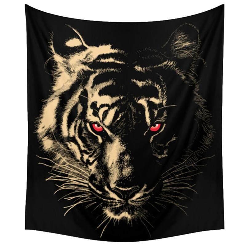 150x130 เซนติเมตร Tapestry Home ตกแต่งโพลีเอสเตอร์ Tiger ผ้าเช็ดตัวชายหาดโซฟาที่ทันสมัยการตกแต่งแบบแขวนผนัง (สีดำ) - Intl By Superbuy666.