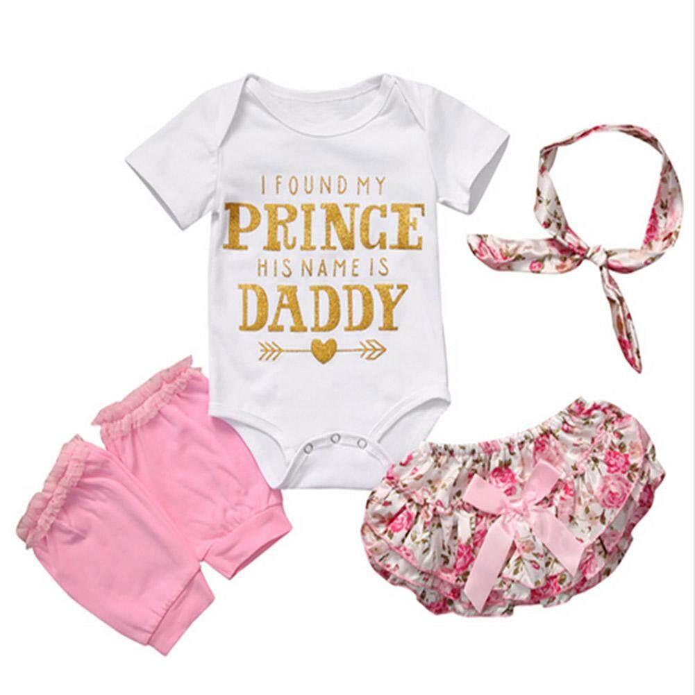 harga Baby Girl Princess Romper Shorts Headband Leg Warmer 4PCS Clothes Set - intl Lazada.co.id