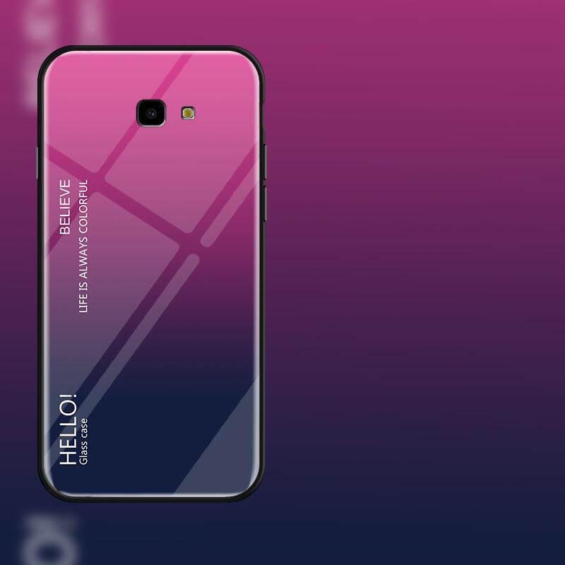 Untuk Samsung Galaxy J4 Plus J4 + Gradien Warna Kaca Antigores Casing Kaca Penutup Belakang Lembut TPU Bumper Case