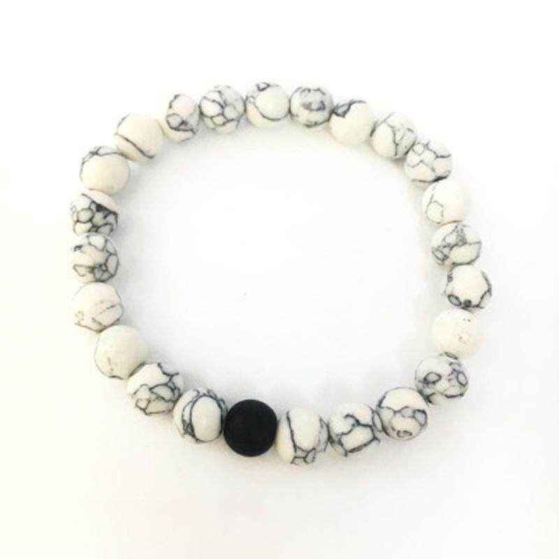 Gracekarin Online 8 Mm Buatan Lava Stone Manik-manik Cakra Pasangan Kekasih Fashion Gelang Perhiasan