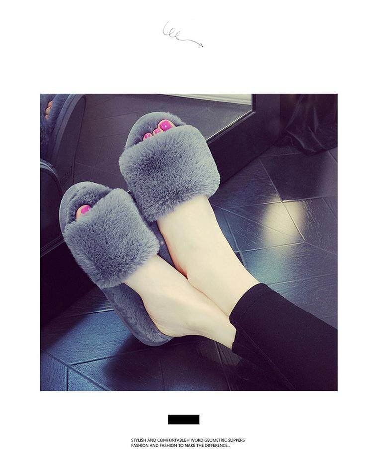 d4c371c275e07 9873 items found in House Slippers. Qbo Winter Rabbit plush slip1ers home  indoor and outdoor wear bedroom Home Furnishing beauty salon female