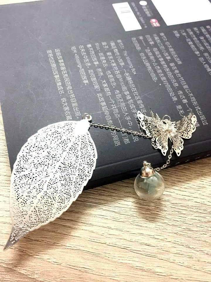 Silver Leaves Bookmark With Butterfly and Light Blue Flower