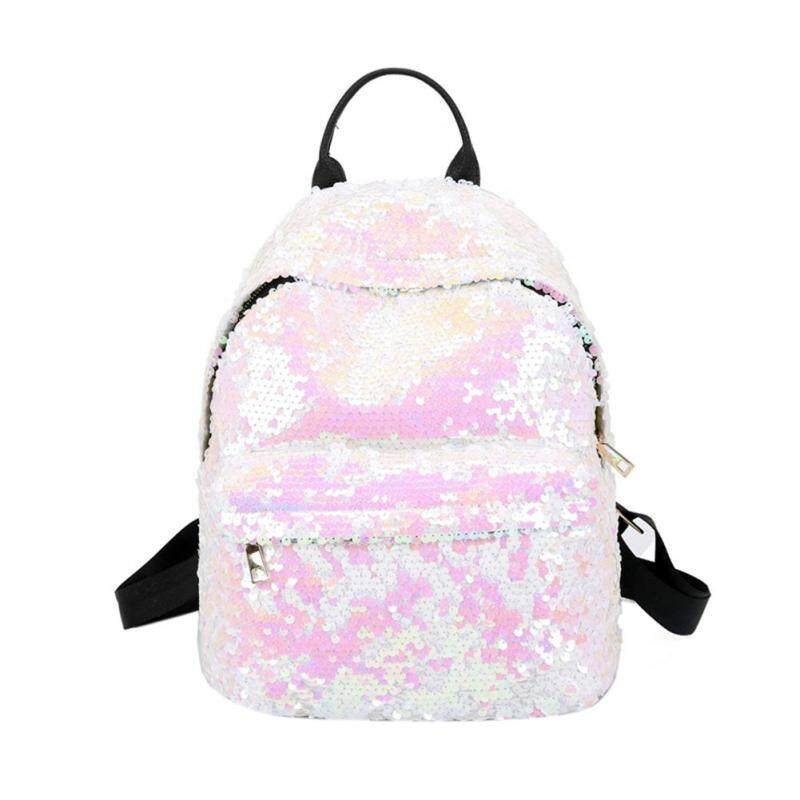 Star Mall Women Glitter Sequins Backpack Large Capacity Solid Color Travel Bag