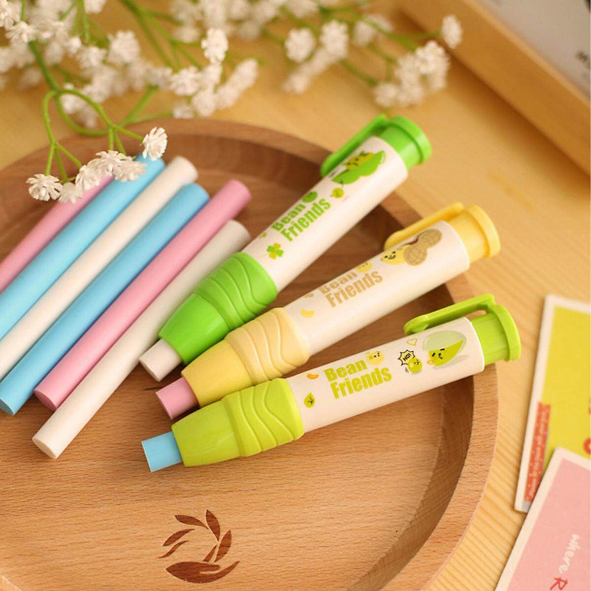 3pc/pack Eraser Rubber School Students Stationery Cute Pen Shape Eraser Kid Gift By Glimmer.