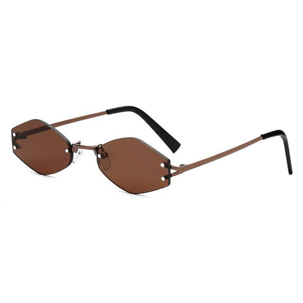 Qimiao Fashion Retro Bingkai Kecil Kacamata Hitam Dewasa Bingkai Heksagon Anti Ultraviolet Kacamata Kacamata Lensa Warna