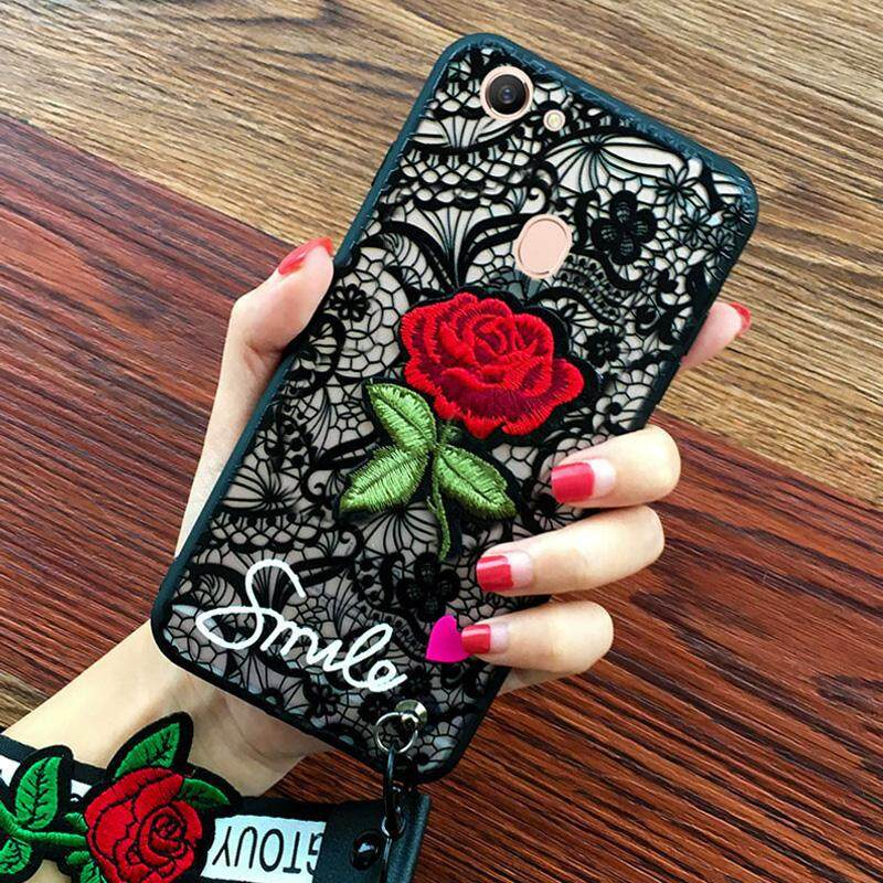 Vintage Luxury Embroidered Lace Wristbands Phone Cases For Oppo A37 / NEO 9 Cute 3D Rose Flower Soft Silicone Case For Oppo A37 / NEO 9