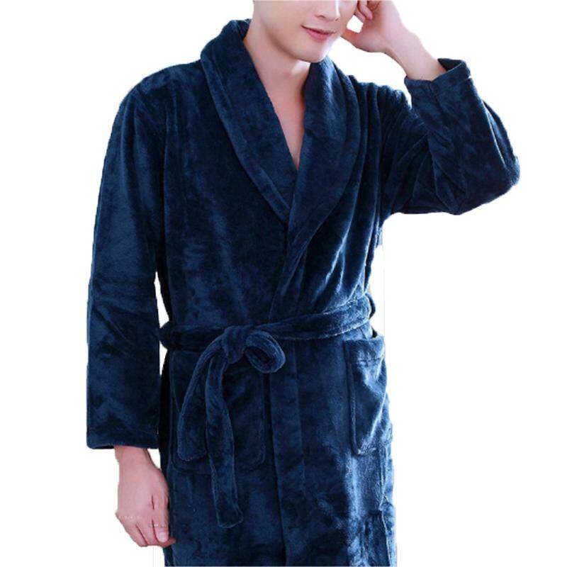 Men Thicken Flannel Pajamas Long Bath Robe Nightgown Comfy Sleepwear  Nightwear 2b242ac5c