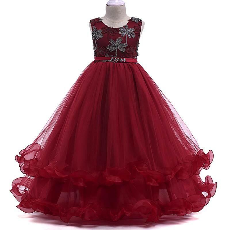 bb35b5138 Baby Girl Princess Dresses Summer Children Flower Bowknot Birthday Wedding  Gown Tulle Dress - intl