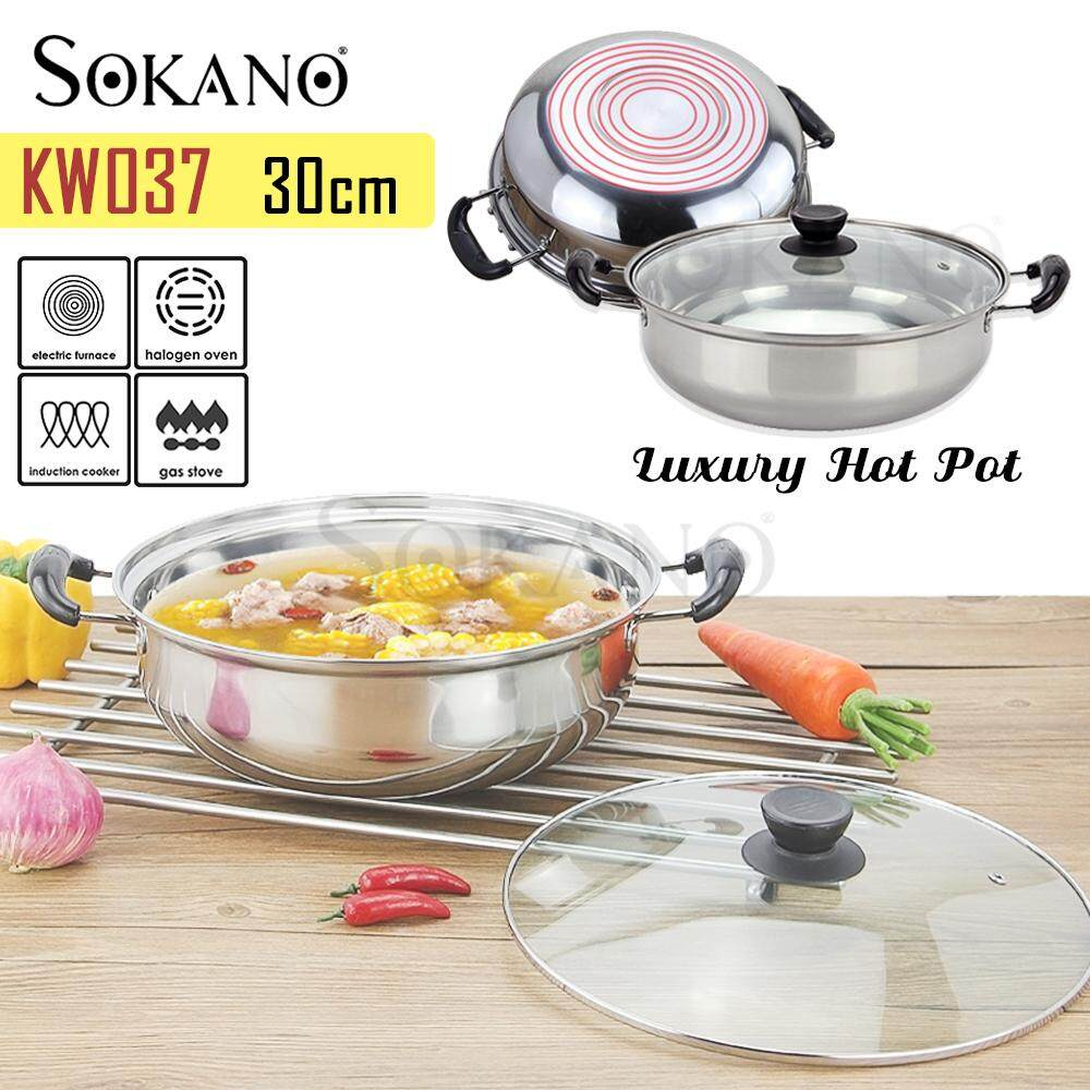 (RAYA 2019) SOKANO KW037 30CM Stainless Steel Non-stick Cookware & Steamboat Pot