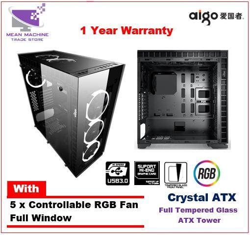 Aigo Crystal ATX Full Window Tempered Glass with 5 RGB Fan Gaming Chassis Malaysia