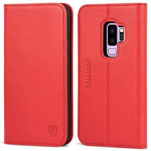SHIELDON Galaxy S9 Plus Wallet Case [Folio Cover][Stand Feature] Premium Samsung Galaxy S9 Plus Credit Card Flip Case Protective Genuine Leather with Card Slot + Side Pocket Magnetic Closure - Red