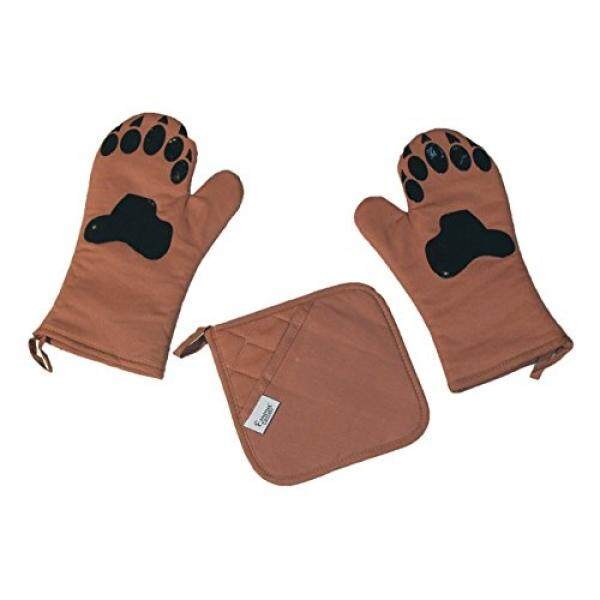 Oven Mitts by Emma Cassidy - Heat Resistant with Pot Holder - Silicone Pads printed on Brown Cotton Fabric - Funny Set - Easy Grip, Non-Slip - Paws of a Bear, Dog, Cat - Gives You a Smile as You Cook - intl