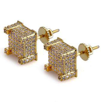 Bandingkan Toko Perhiasan Fashion Gold-Warna Zirkon Sisipan Mikro Anting- Anting Hiphop Gangsta Anting